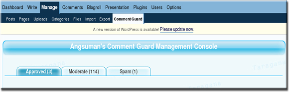 Comment Guard Management Console