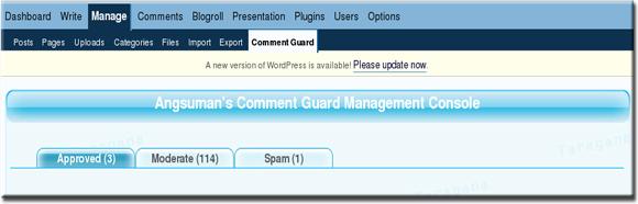 Comment Guard Management Console