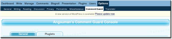Comment Guard Option Panel