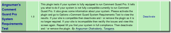 Comment Guard Pro System Requirement Test Plugin Installed